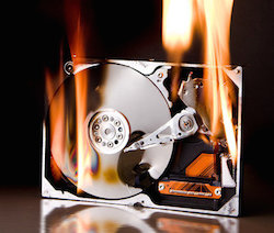 hard drive on fire = lost data